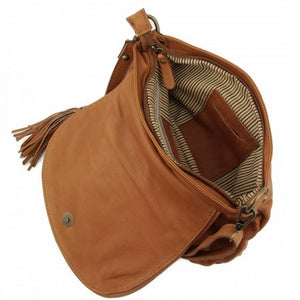 Internal View Of The Cognac Leather Tassel Bag