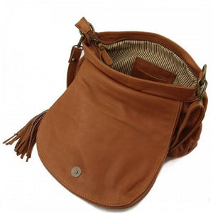 Angled Internal View Of The Cognac Leather Tassel Bag