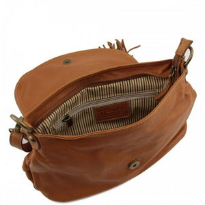 Internal Zip Pocket View Of The Cognac Leather Tassel Bag