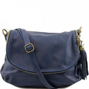 Front View Of The Dark Blue Leather Tassel Bag