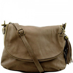 Front View Of The Dark Taupe Leather Tassel Bag