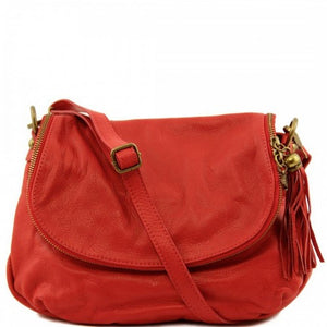 Front View Of The Red Leather Tassel Bag