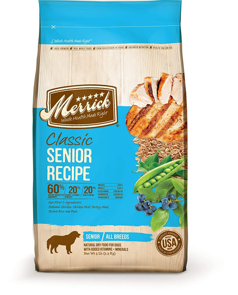 Merrick classic Senior Real Chicken with Brown Rice & Green Pea