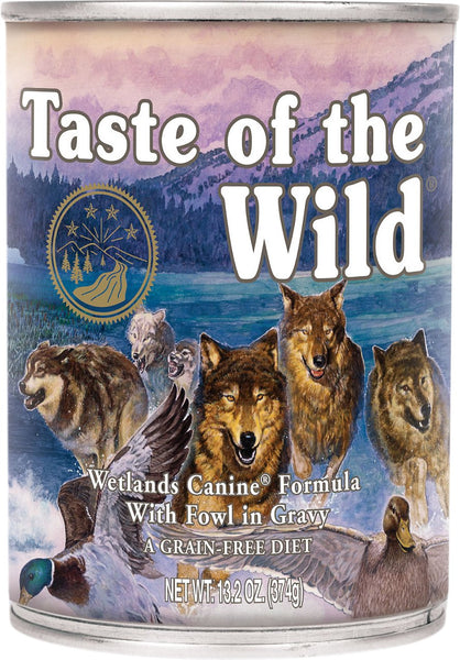 Taste of the Wild Canned Dog Food- Wetlands Canine Formula in Gravy - with Roasted Fowl (Roasted Quail, Roasted Duck & Smoked Turkey)