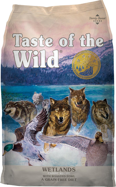Taste of the Wild Dog Food- Wetlands Canine Formula - with Roasted Fowl (Roasted Quail, Roasted Duck & Smoked Turkey)