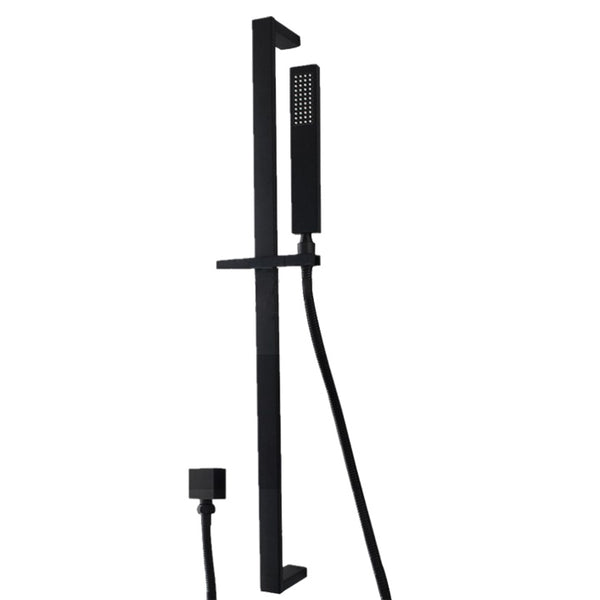 HELIX Cassino Shower Rail Set Black Square - Helix Tapware