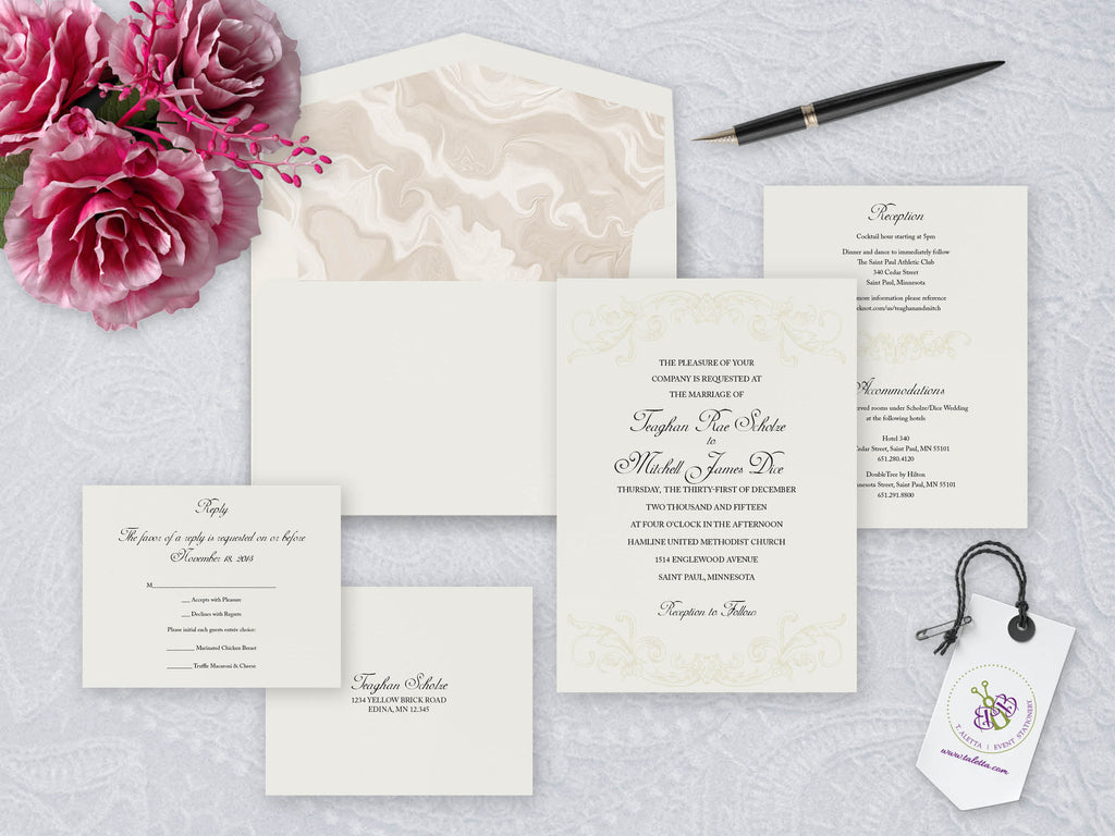 Classic traditional wedding invitation set black text on ivory paper with beige colored design that creates a tone on tone effect. Full set of wedding invitation, info card, RSVP, mailing envelope and RSVP envelope along with mailing envelope liner.