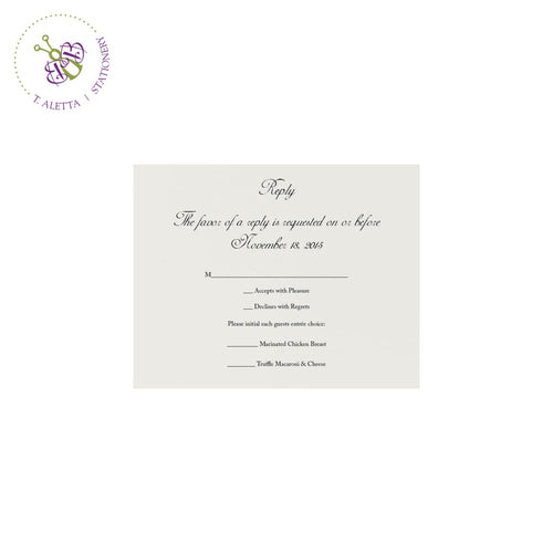 Traditional RSVP or reply card for classic or formal weddings.