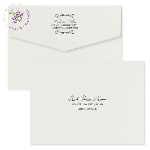 Classic and formal wedding invitation envelope with return and guests name printed.