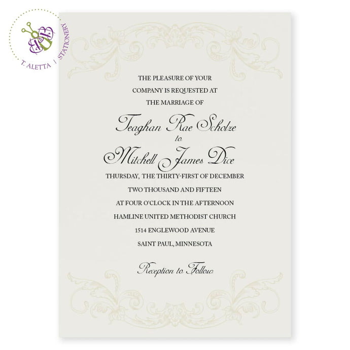 Tone-on-tone design a beige color flourish design adorns the top and bottom of this wedding invitation. Serif typeface informs your guests of all of the wedding day details while the couples name is in a calligraphy typeface.