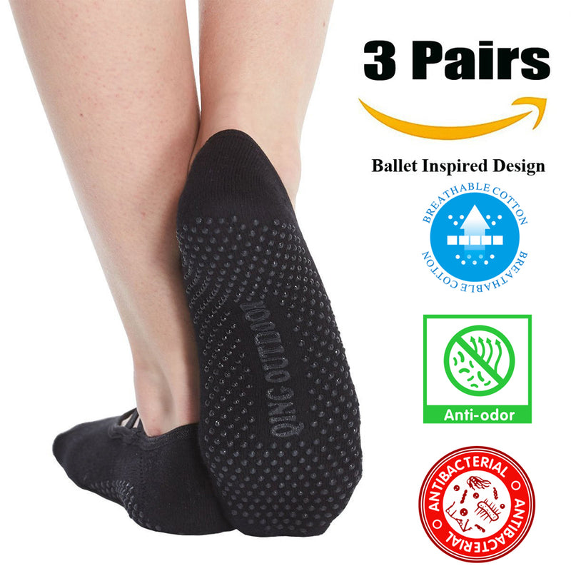 Yoga Socks for Women Non Skid Socks with Grips Barre Socks Pilates Socks for Women Pack of 3