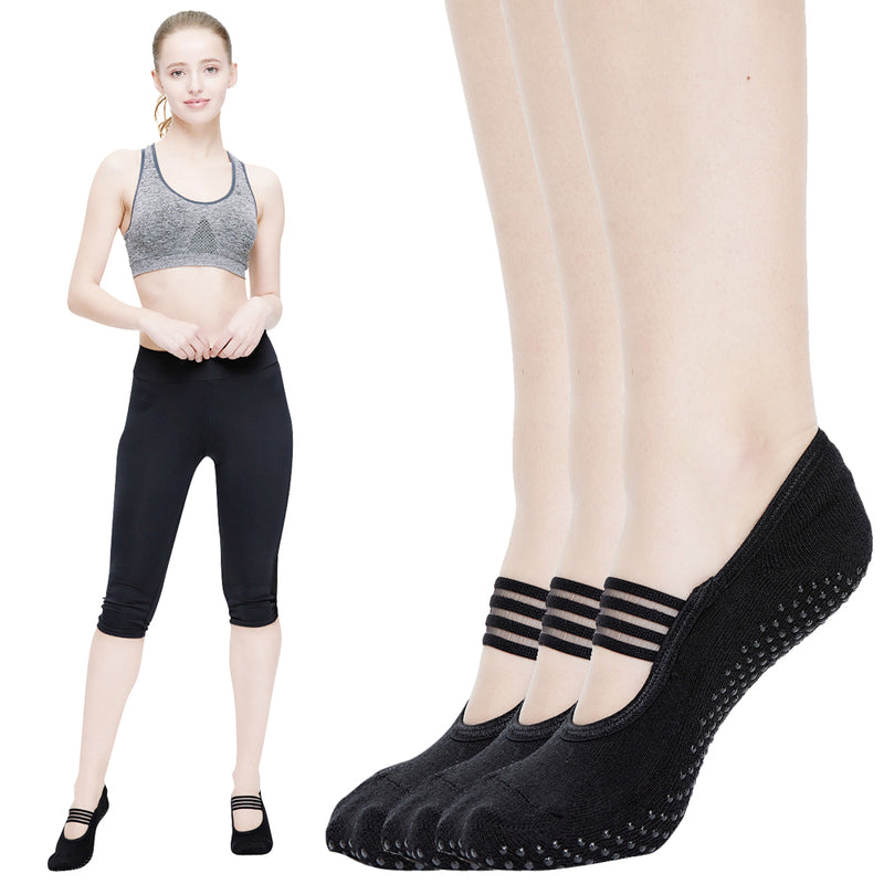 3 Pairs Yoga Socks for Women Non Skid Socks with Grips Barre Socks Pilates Socks for Women