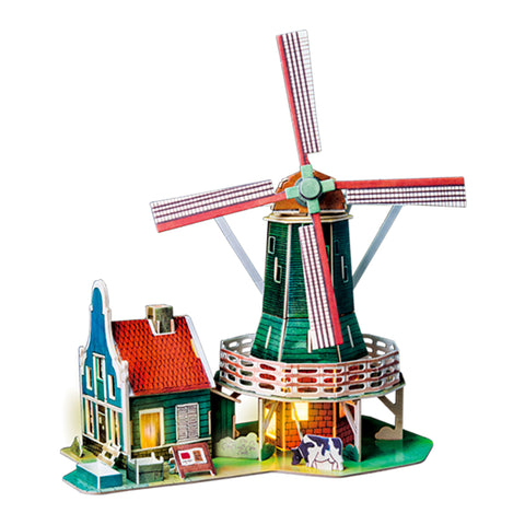 DIY Wood House Dutch Windmill Modern Home Decoration - Colorcome