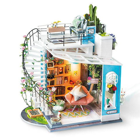 Home Decor Figurine DIY Dora's Loft Wood Miniature Doll House - Colorcome