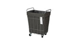 WIRE ARTS&PRO  FOLDING LAUNDRY SQUARE BASKET with CASTER 45L dark gray