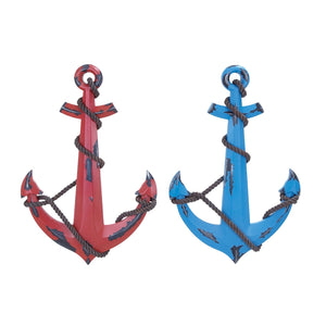 COASTAL, ANCHOR, RED, BLUE, WOOD WALL DECOR, NAUTICAL