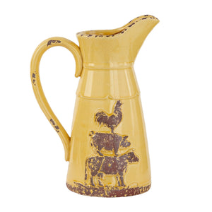 FARMHOUSE, STACKED ANIMALS, ROOSTER, PIG, COW, PITCHER, HOME ACCENTS, DECORATIVE JARS