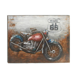 VINTAGE, ROUTE 66, MOTORCYLCE, WALL ART, TRANSPORTATION