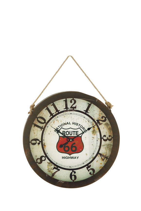 VINTAGE, ROUTE 66, CLOCK, WALL CLOCKS, LARGE CLOCK (16