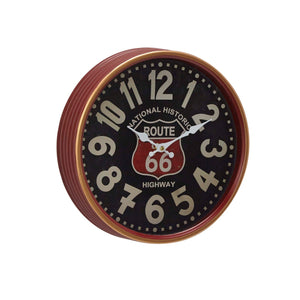 "VINTAGE, ROUTE 66, CLOCK, WALL CLOCKS, MEDIUM CLOCK (9""- 15"")"