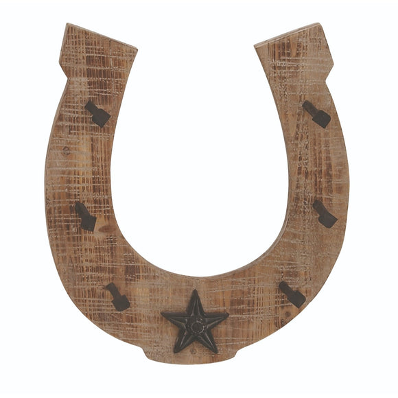 RUSTIC, WESTERN, HORSESHOE, STAR, HOOK, WOOD WALL DECOR, CELESTIAL