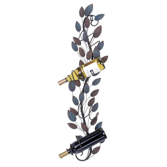 TRADITIONAL, LEAVES, WINE, BOTTLE HOLDER, METAL WALL DECOR, WINE