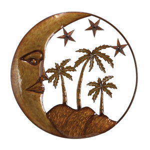 RUSTIC, MOON, STAR, PALM, METAL WALL DECOR, CELESTIAL