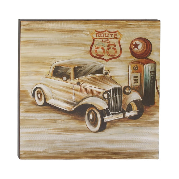 VINTAGE, ROUTE 66, CAR, ROADSTER, WALL ART, TRANSPORTATION