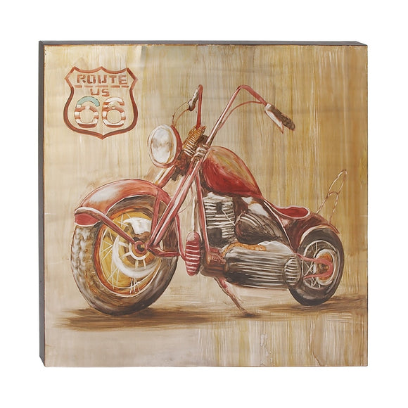 VINTAGE, ROUTE 66, MOTORCYCLE, WALL ART, TRANSPORTATION