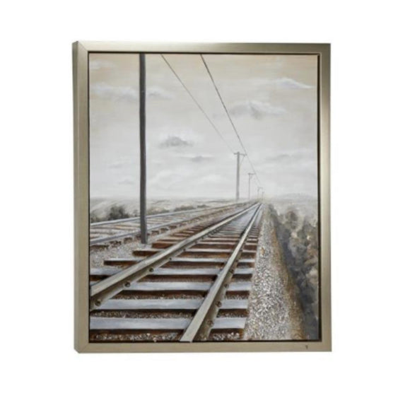 INDUSTRIAL, TRAIN, TRACKS, WALL ART, TRANSPORTATION