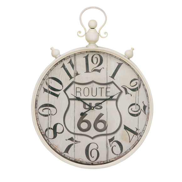 VINTAGE, ROUTE 66, CLOCK, WHITE, WALL CLOCKS, EXTRA LARGE CLOCK (24