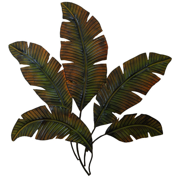 RUSTIC, LEAVES, PALM, FROND, METAL WALL DECOR, FLORAL