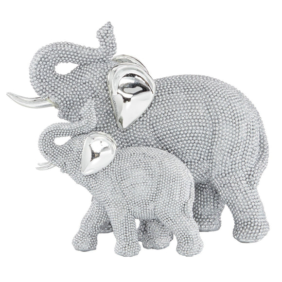 GLAM, ELEPHANT, CRYSTAL, FAMILY, SILVER, SCULPTURES, SAFARI ANIMALS