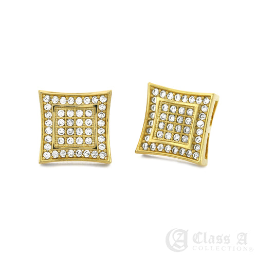14K GD PT Iced Kite Stud Hip Hop Hyperallergic Screwback Earrings - BE002