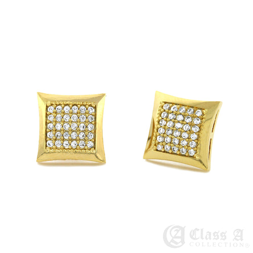 14K GD PT Iced Kite Stud Hip Hop Hyperallergic Screwback Earrings - BE008