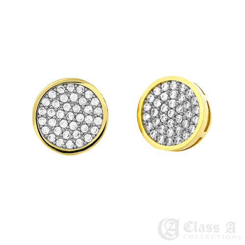 14K GD PT Iced Round Circle Stud Hip Hop Hyperallergic Screwback Earrings - BE012