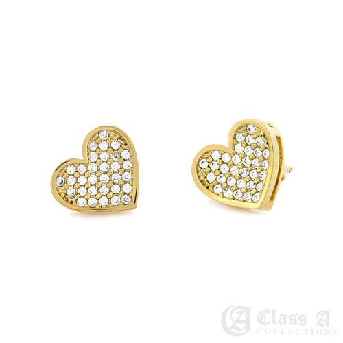 14K GD PT Iced Heart Stud Hip Hop Hyperallergic Screwback Earrings - BE022