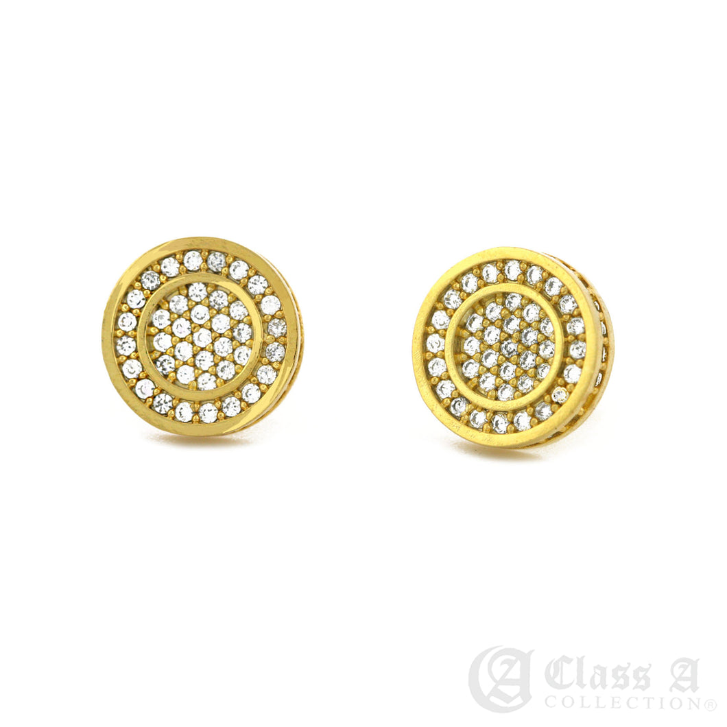 14K GD PT Iced Double Circle Hip Hop Hyperallergic Screwback Earrings - BE028