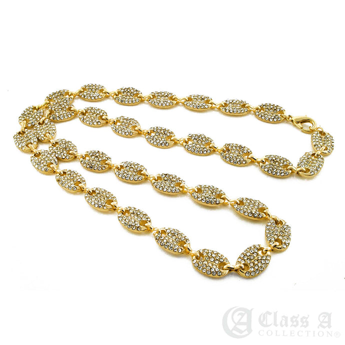 14K GD PT Lab-Diamond Iced Gucci Inspired Chain Necklace - CH3104