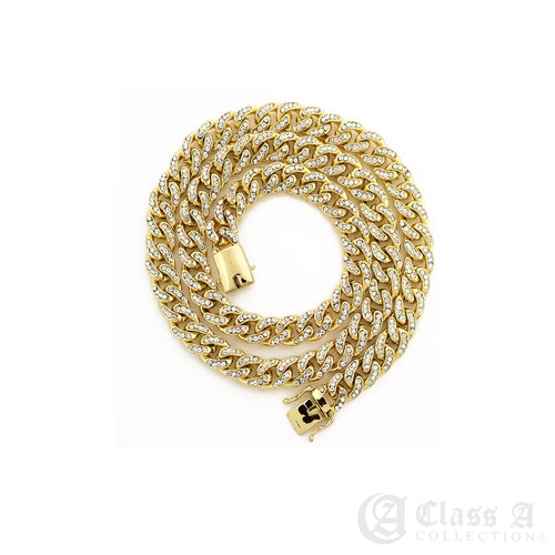 14K GD PT Lab-Diamond Iced 6mm Miami Cuban Link Chain Hip Hop Necklace - CH3107