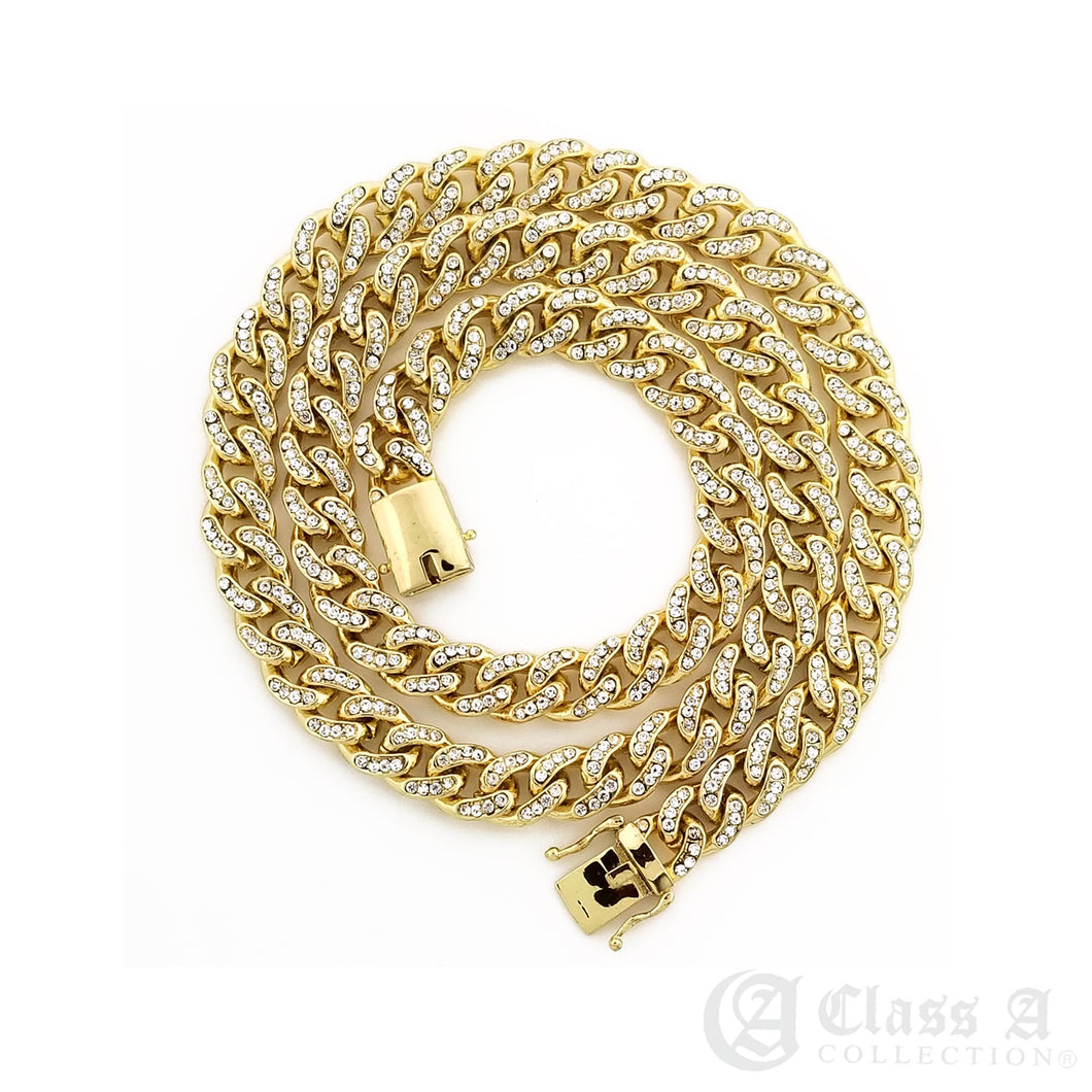 14K GD PT Lab-Diamond Iced 8mm Miami Cuban Link Chain Hip Hop Necklace - CH3108
