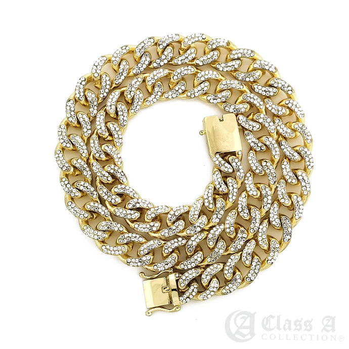 14K GD PT Lab-Diamond Iced 10mm Miami Cuban Link Chain Hip Hop Necklace - CH3109