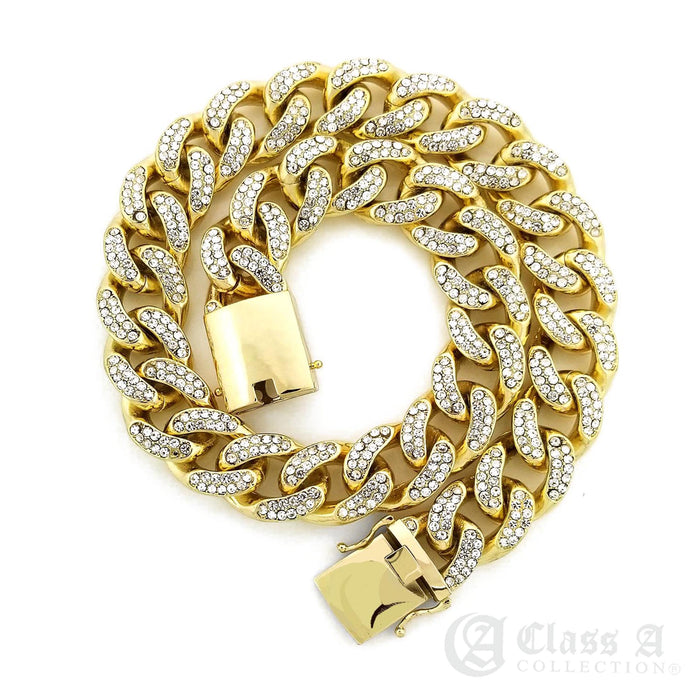 14K GD PT Lab-Diamond Iced 15mm Miami Cuban Link Chain Hip Hop Necklace - CH3110