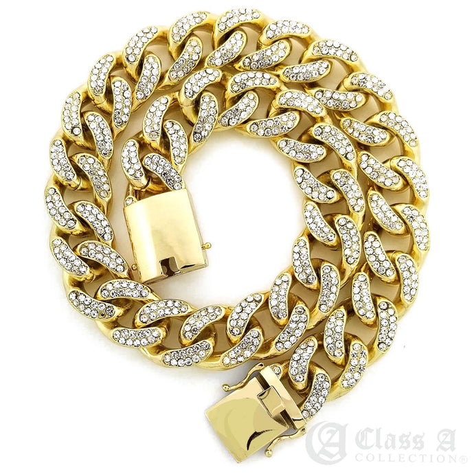 14K GD PT Lab-Diamond Iced 18mm Miami Cuban Link Chain Hip Hop Necklace - CH3111