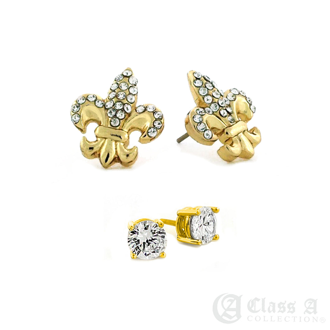 14K GD PT Iced Fleur de lis & 5mm CZ Stud Hip Hop Brass Hyperallergic Earrings Combo  - ER6318