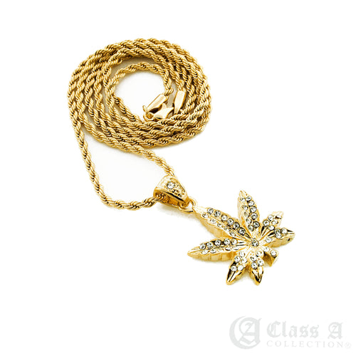 14K GD PT Iced Mini Weed Marijuana Pot Leaf Pendant with Rope Chain Hip Hop Rappers Necklace - HC3000