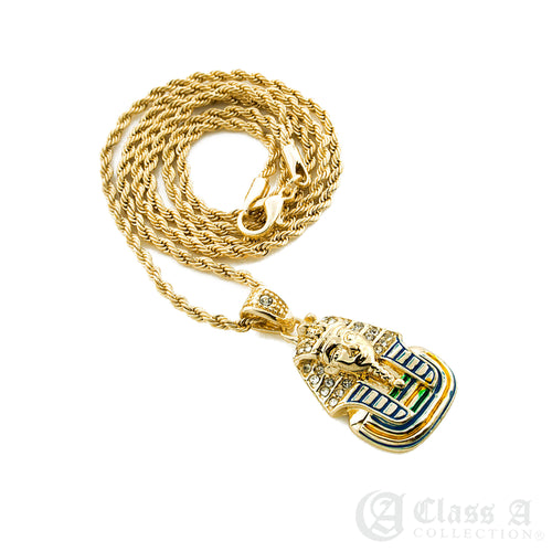 14K GD PT Iced Mini Egypt Pharaoh Pendant with Rope Chain Hip Hop Rappers Necklace - HC3001