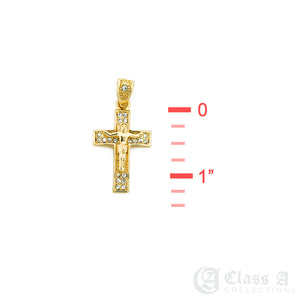 14K GD PT Iced Mini Jesus on the Cross Pendant with Rope Chain Hip Hop Rappers Necklace - HC3007