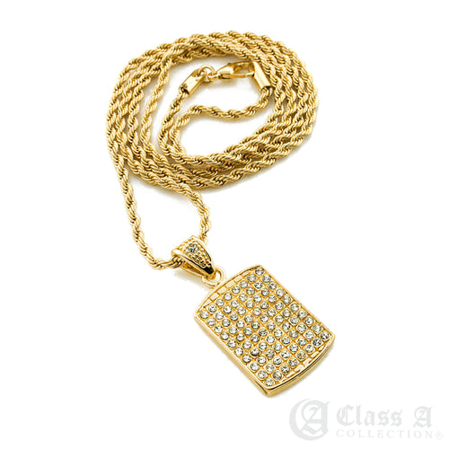14K GD PT Iced Mini Dog Tag Pendant with Rope Chain Hip Hop Rappers Necklace - HC3012