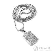 Load image into Gallery viewer, 14K GD PT Iced Mini Dog Tag Pendant with Rope Chain Hip Hop Rappers Necklace - HC3012